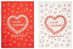YAYOI KUSAMA 'Love Forever' Silkscreen Set of 2 Tea Towels Artist Multiple *NIP*