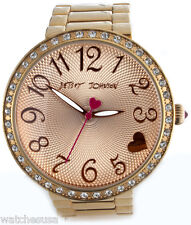 Betsey Johnson Women's Rose Gold-Tone Crystal Accent Bracelet Watch BJ00236-03