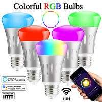 5 Pack E27 Wifi Smart RGB LED Light Bulb Dimmable Work Amazon Alexa Google Home