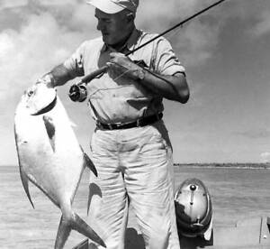 Permit On The Fly 1950 OLD FISHING PHOTO