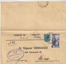 ITALIA1956 1L LAV.+12LSIRAC DA USCIO PER LUINO RISPEDITA CON 13LSIRAC AL MITTENT