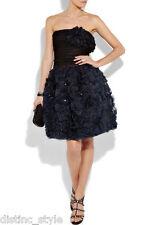 R'11 ICONIC GORGE 2DIE4 RARE Oscar De La Renta organza blue/black cocktail dress