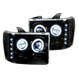 Recon Black/Smoke CCFL Halo Projector Headlights with LED DRL for 07-13 Sierra