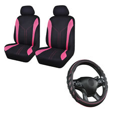2 Front Mesh Car Seat Covers & 1 New Pink Car Steering Wheel Cover Universal Set
