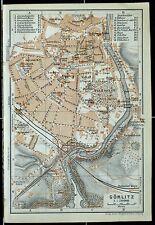 GÖRLITZ, alter farbiger Stadtplan, gedruckt um 1900