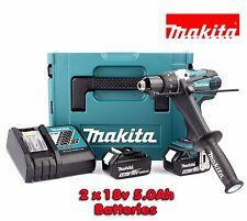 Makita DHP458RTJ 18v Compact Combi Hammer Screwdriver Drill Driver 2 x 5Ah Batts