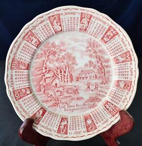 """1973 ALFRED MEAKIN England Porcelain GOD BLESS OUR HOUSE Red 9""""d Calendar Plate"""