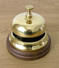 Hotel Bell, Italian Cast Brass, polished finish, wooden base.