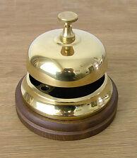Hotel Bell, Italian Cast Brass, polished finish, wooden base.