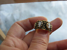 New Old Stock SOLID 14kt Gold Cameos Band Size 5.75,8.9 grams,Shell Coral Cameo