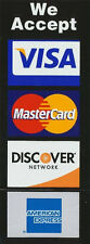 CREDIT CARD LOGO DECAL STICKER - Visa / MasterCard/Discover/Amex