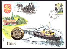 ONU 1986 numisbrief FINLANDIA SUOMI Coin Copertura Barca Nave CACHET TIMBRO finlandese