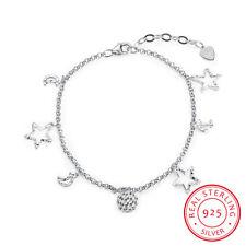 Pretty 925 Sterling Silver Hollow Star  Moon Charm Bracelets For Women Jewelry