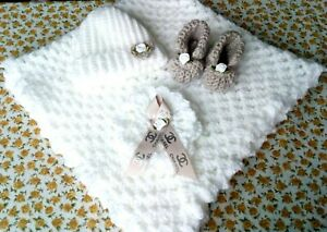 Baby's Hand Crochet Blanket Set With Matching Hat And Booties