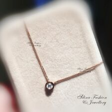 18K Rose Gold GF Simulated Diamond Delicate Single Round Collarbone Necklace