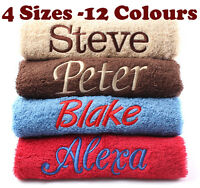 New EMBROIDERED PERSONALISED BATH TOWEL Ideal Gift Set ANY NAME Egyptian Cotton