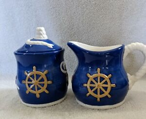 Geo.Z.Lefton, By The Sea #CTM12172, Creamer and Sugar, Blue and White