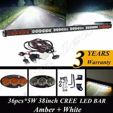 "40"" Dual Color Amber/White Stroboflash Led Remote Light Bar Offroad 4x4 Truck 38"