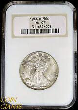 1944-D Walking Liberty Half Dollar NGC MS67 GEM BU+ RARE Uncirculated 50c Denver