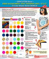 """Siser easyweed heat transfer vinyl,12"""" x 12"""" -12 color sheets starter bundle"""