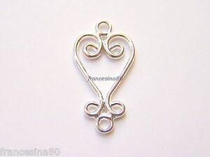 4 basi Cuore placcato argento 26x13mm orecchini ciondolo pendenti