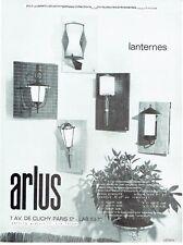 PUBLICITE ADVERTISING 126  1962  les luminaires lanternes  Arlus