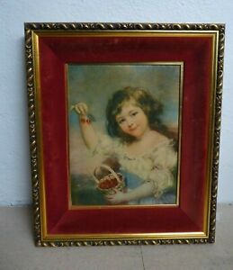 Reproduction John Russell Painting - Young Girl with Cherries - Velvet Mount