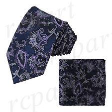 New Brand Q Men's Micro Fiber Neck Tie & Hankie Set Paisley Blue Purple