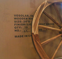 "CASE OF 10 WHOLESALE 24"" DECORATIVE WOODEN WAGON WHEELS WOOD WHEEL W STEEL RIM"