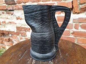 19th Century English Antique Leather Bombard Jug Blackjack