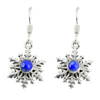 925 Sterling Silver Natural Blue Lapis Lazuli Round Dangle Earrings D23119