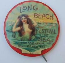 1908 Long Beach Ca. Festival Of The Sea Mermaid Celluloid Pin Pinback Bastion