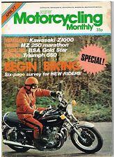 Motorcycling Monthly Apr 1977  Kawasaki Z1000 BSA Gold Star CG125 650 Bonneville
