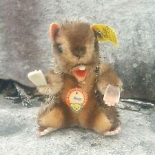 Vintage German STEIFF Nagy Beaver BUTTON Tag Felt Glass Eyes Mohair Swivel 1960