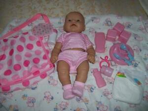 LOT BERENGUER NEWBORN BABY DOLL 5 PIECE OUTFIT BLANKET NAPPY BAG ACCESSORIES