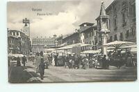 Verona Piazza Erbe Printed Men Walking Vintage Old Postcard Unposted EZ