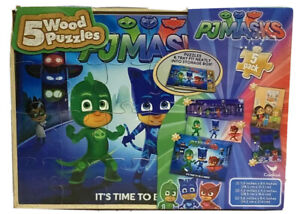 """New Cardinal 5 Wood Puzzles PJ Masks """"It's Time To Be A Hero"""" 5 Pk With Storage"""