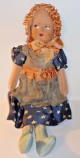 Antique Doll Patriotic Betsy Ross Stuffed Cotton Straw & Papier Mache Face