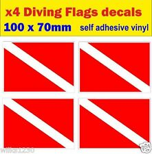 4x Diving red flag Gas Scuba Decals Cylinder Diving Bottle Tank sticker warning