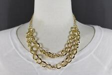 Gold tone double strand necklace 2-tier chain link layered look 17-19 long
