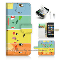 ( For iPhone 5 / 5S / SE ) Wallet Case Cover! Pokemon Pikachu P0022