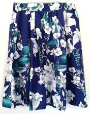 NWT Cynthia Rowley Blue Floral Printed Skirt sz Large 100% Cotton Elastic Waist