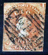 CHILE 1857-1865 5c. COLON ESTANCOS SANTIAGO Print Chile #9 Scott #9 SG 18 Wm 4