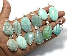 Sale !! 25 PCs Lot Natural Amazonite Gemstone Silver Plated Bezel Pendants