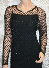 Womens Black Crochet Top, Sparkling Bohemian Top, Size: S