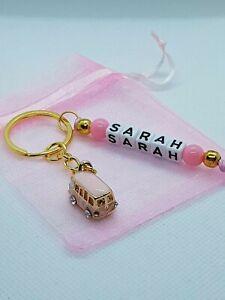 Personalised pink camper van Keyring, traveller gifts, caravan keyring