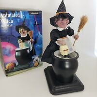 """Witch w/Brew Pot Vintage Halloween Decor 16"""" Animated Lighted Black 1994"""