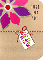 Just For You Birthday Embellished Greeting Card Hand-Finished Sugar Cube Cards