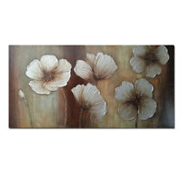 Original Hand Paint Oil Paintings on Canvas Home Decor Wall Art Brown Flowers