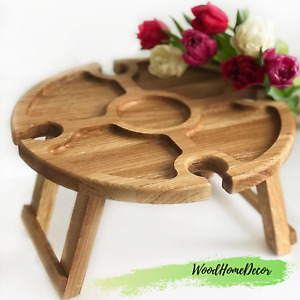 Portable wooden HANDMADE picnic table Oak -Wine cheese board -Outdoor wine table